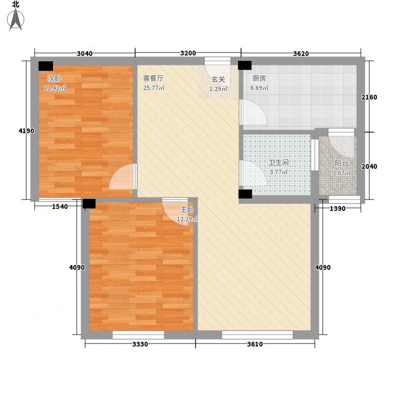 丽都国际翰林苑76.00㎡4-5-6#户型2室2厅1卫1厨