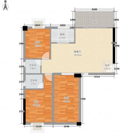 中科蓝湾国际3室1厅2卫1厨112.00㎡户型图