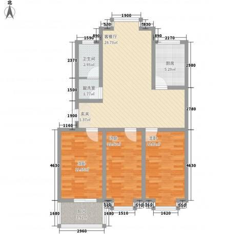 西城国际3室2厅1卫1厨114.00㎡户型图