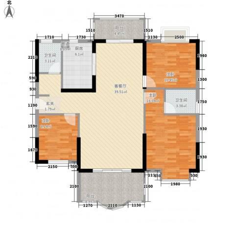 博罗新城建业・金域华府3室1厅2卫1厨141.00㎡户型图