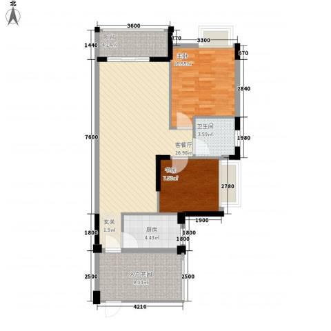 米特住区2室1厅1卫1厨95.00㎡户型图