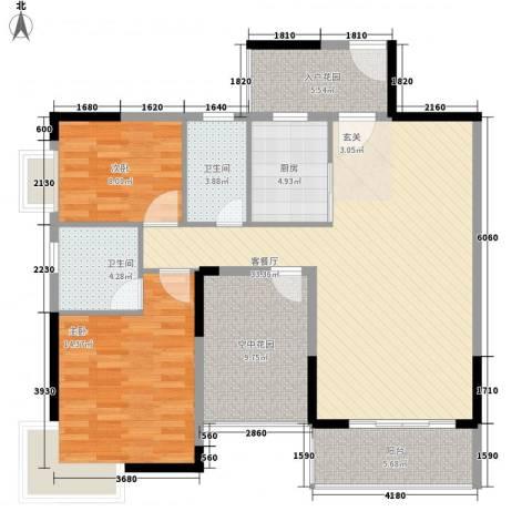 江南御都2室1厅2卫1厨89.81㎡户型图