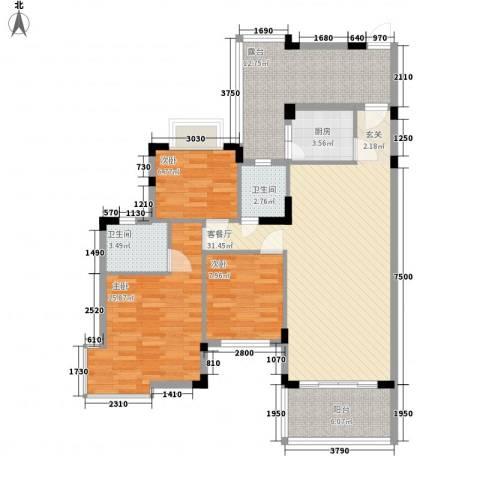 江南御都3室1厅2卫1厨103.00㎡户型图