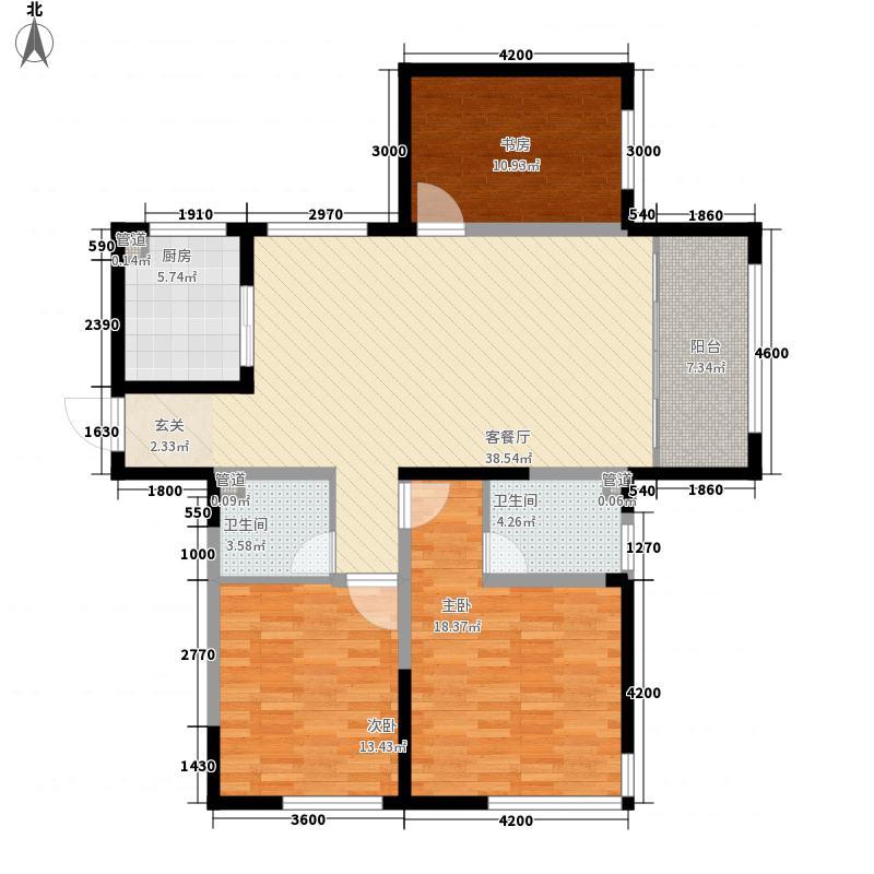 山海苑14.00㎡H户型3室2厅2卫