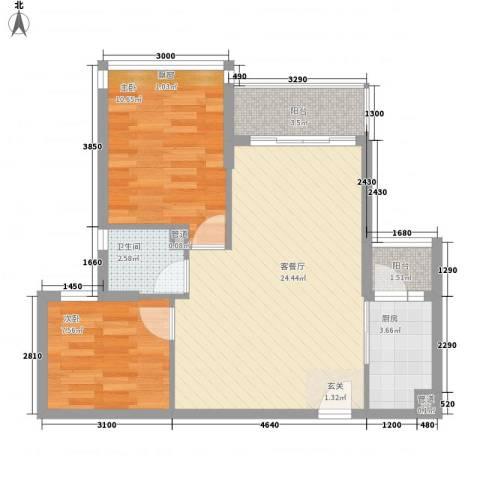 日升昌阳光御园2室1厅1卫1厨54.07㎡户型图