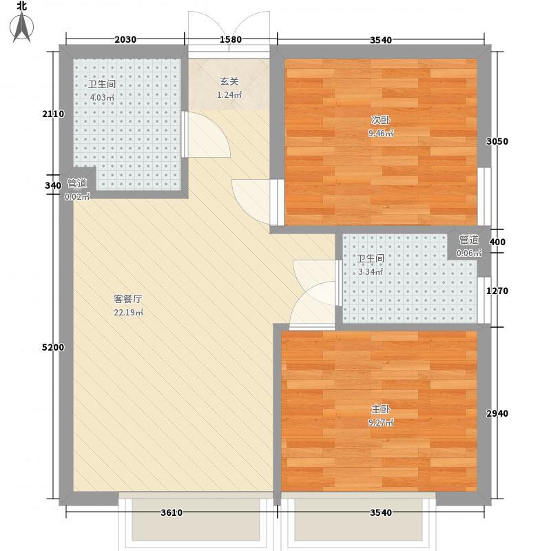 天津东方环球影城2室1厅2卫0厨68.00㎡户型图