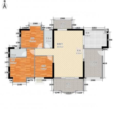 博罗新城建业・金域华府3室1厅2卫1厨158.00㎡户型图