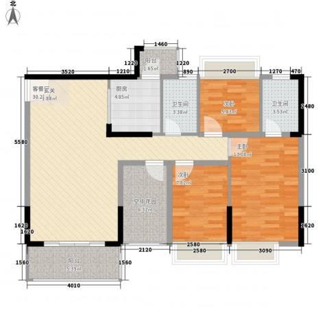 江南御都3室1厅2卫1厨82.05㎡户型图