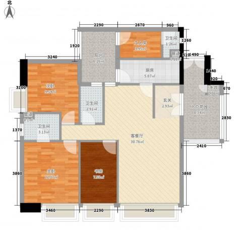地王广场3室1厅3卫1厨132.00㎡户型图
