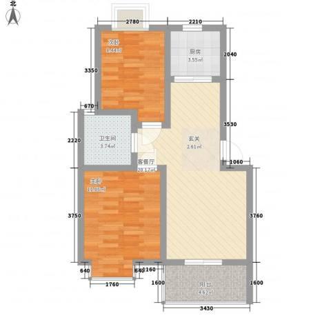 天门湖新界2室1厅1卫1厨100.00㎡户型图