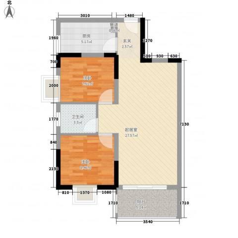 西江月雅园2室0厅1卫1厨86.00㎡户型图