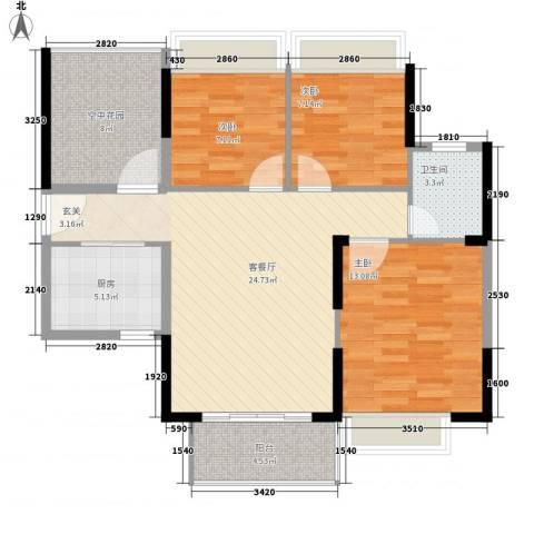 江南御都3室1厅1卫1厨82.20㎡户型图