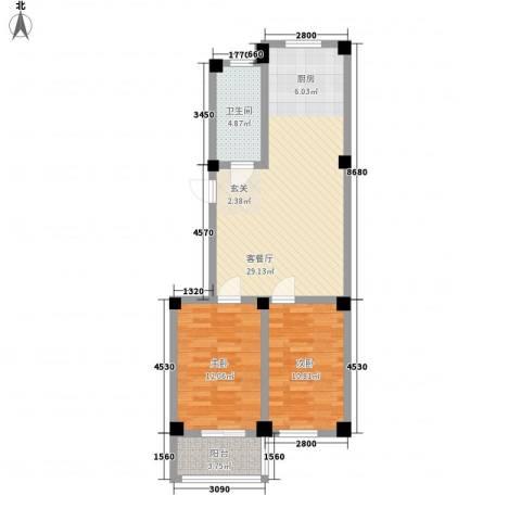 华庭美第2室1厅1卫0厨87.00㎡户型图