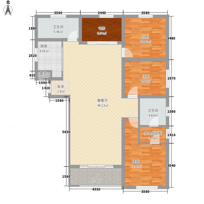 国际商会大厦155.74㎡一期3#楼标准层15574户型2室2厅2卫1厨