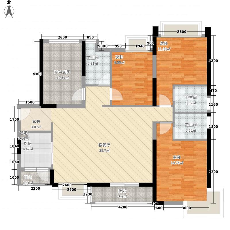 汇景御海蓝岸137.61㎡134栋D3户型3室2厅3卫1厨