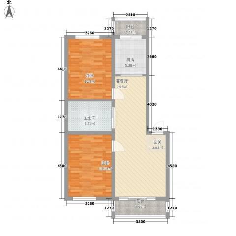 凤天阁2室1厅1卫1厨84.00㎡户型图