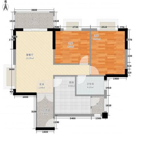 天林湖花园2室1厅1卫1厨96.00㎡户型图