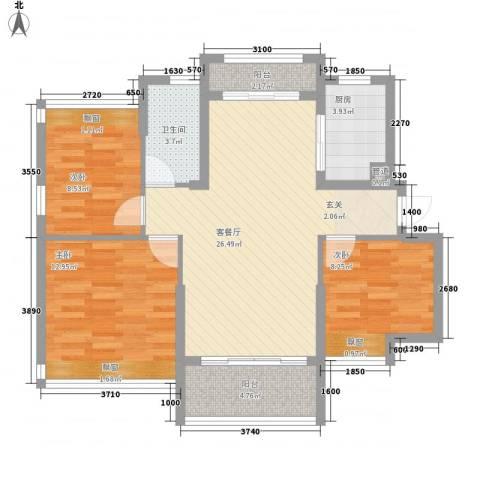 日升昌阳光御园3室1厅1卫1厨70.89㎡户型图