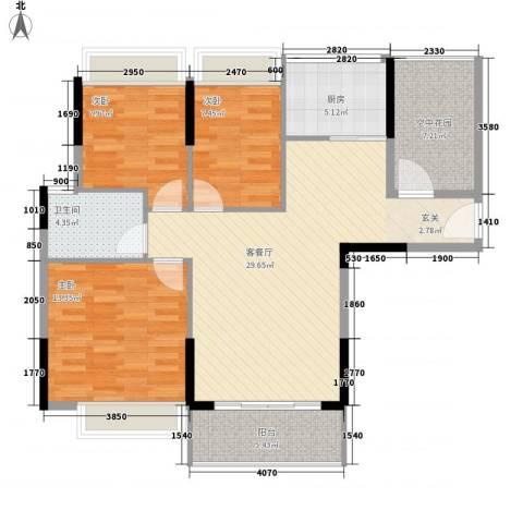 江南御都3室1厅1卫1厨80.51㎡户型图
