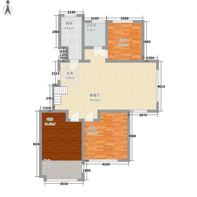 万海惜福时光3室1厅1卫1厨145.00㎡户型图