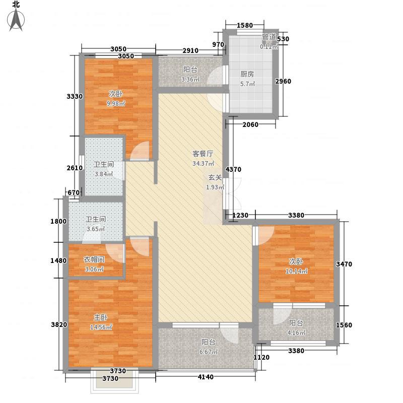 海尔・云世界3室1厅2卫1厨143.00㎡户型图