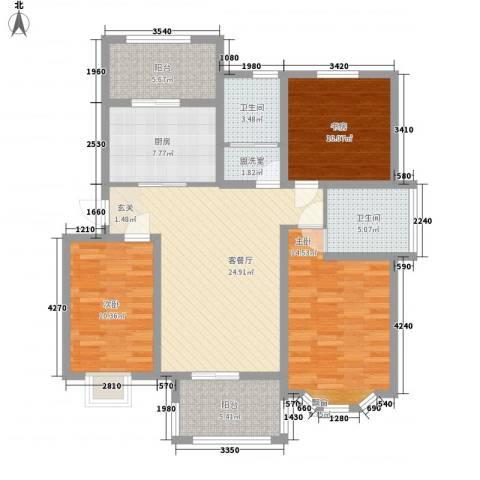 御景华庭3室1厅2卫1厨127.00㎡户型图
