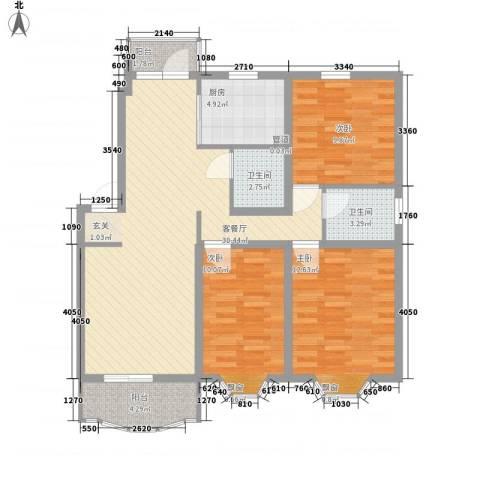 上大阳光乾泽园3室1厅2卫1厨115.00㎡户型图