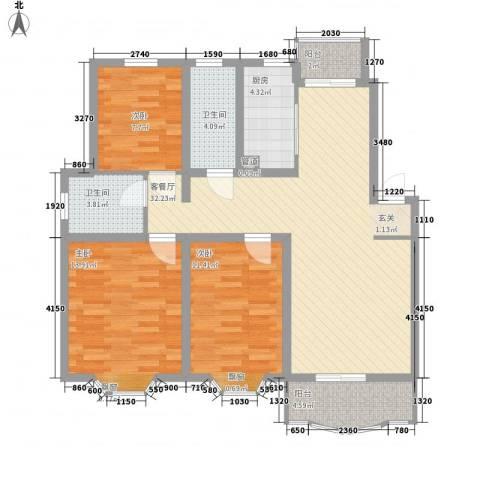 上大阳光乾泽园3室1厅2卫1厨121.00㎡户型图