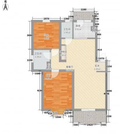 上大阳光乾泽园2室1厅2卫1厨92.00㎡户型图
