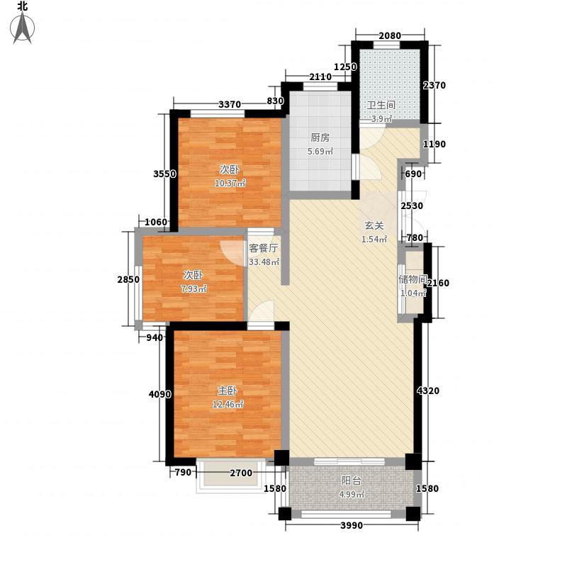 滨河小镇14.52㎡B-2、10#户型3室2厅1卫