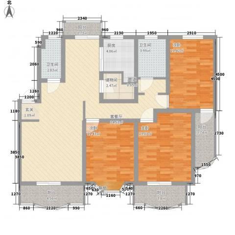 上大阳光乾泽园3室1厅2卫1厨143.00㎡户型图