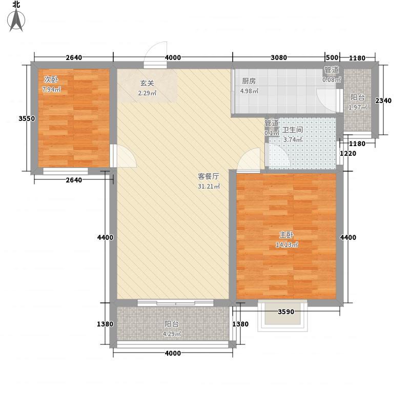 茶博城御府8.53㎡一期高层8号楼B-1户型2室2厅1卫1厨