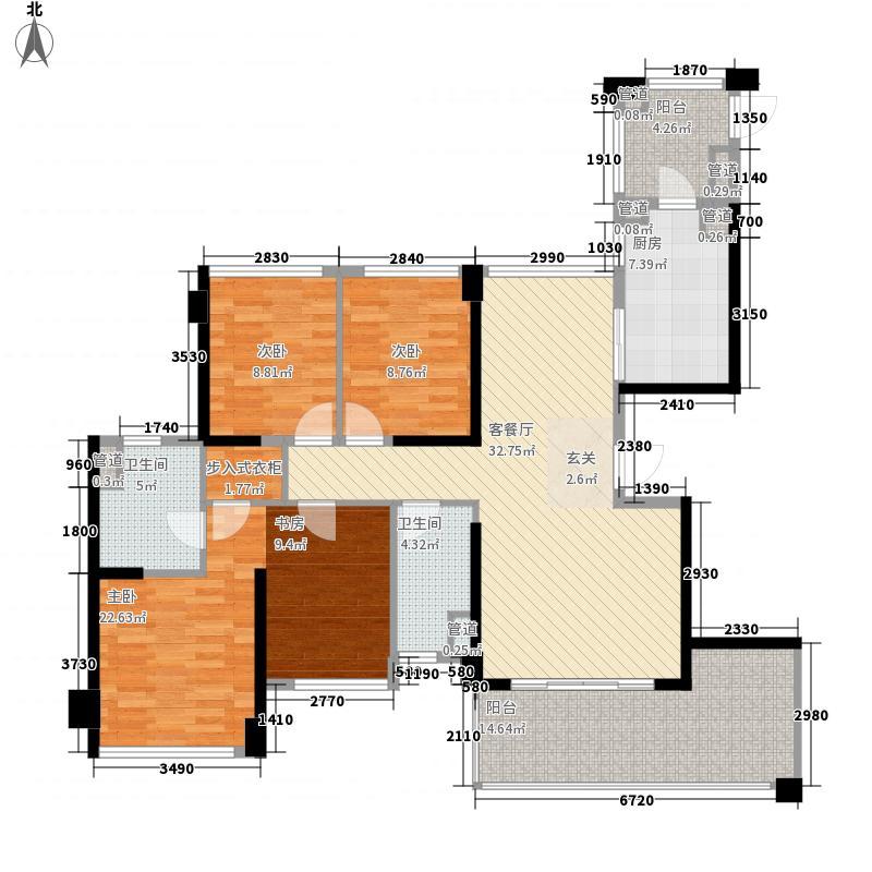 绿岛湖壹号3室1厅2卫1厨143.00㎡户型图