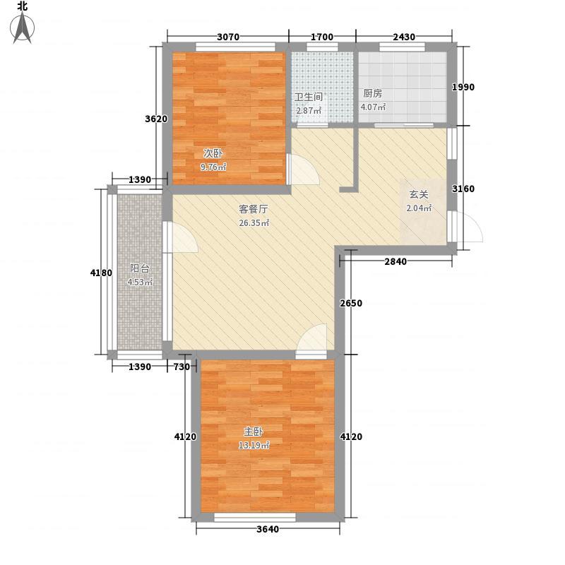 御河壹�84.80㎡1、3、6号楼A户型2室2厅1卫1厨