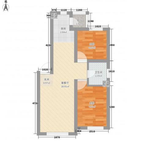 滨才城2室1厅1卫0厨53.00㎡户型图