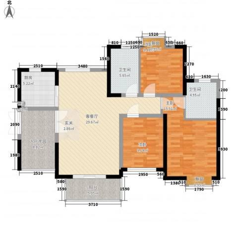 世纪城龙祥苑3室1厅2卫1厨132.00㎡户型图