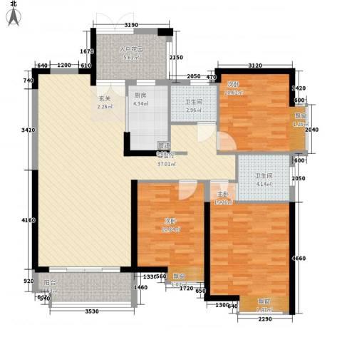 世纪城龙祥苑3室1厅2卫1厨95.57㎡户型图