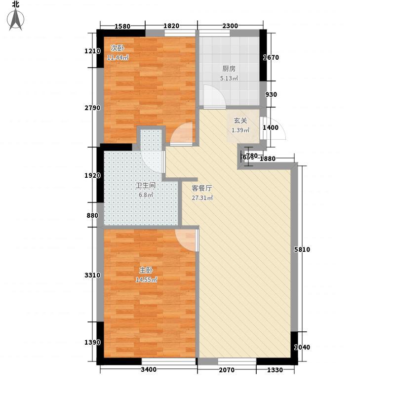 冠信香泉谷45#、46#城堡标准层E户型2室2厅1卫1厨
