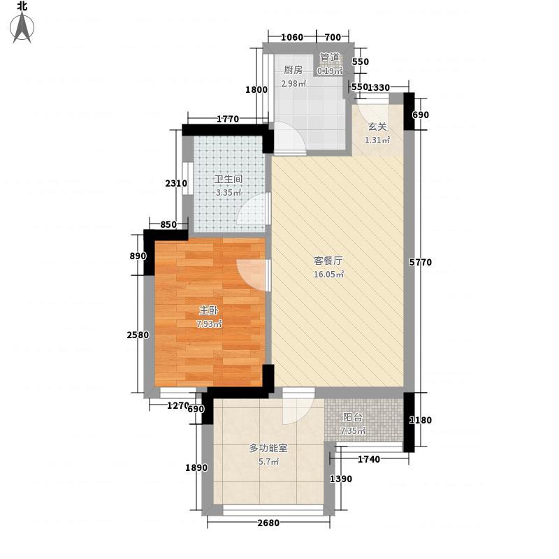 时富城东世家54.88㎡9栋3-10层05户型1室2厅1卫1厨