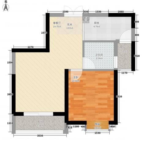 世纪城龙祥苑1室1厅1卫1厨65.00㎡户型图
