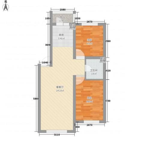 滨才城2室1厅1卫0厨64.00㎡户型图
