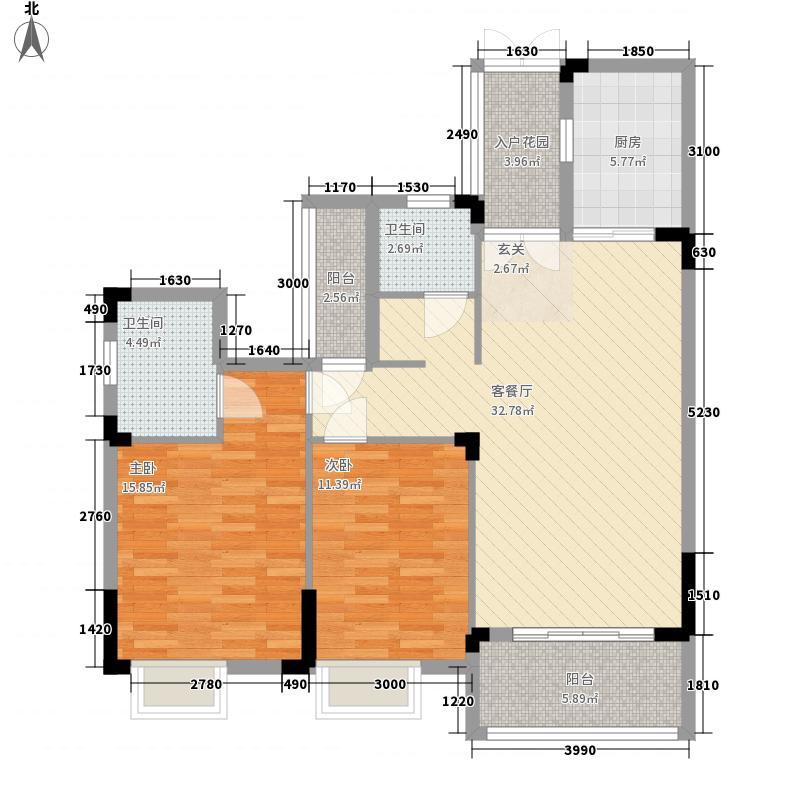 东方国际花园17.88㎡I户型2室2厅2卫1厨