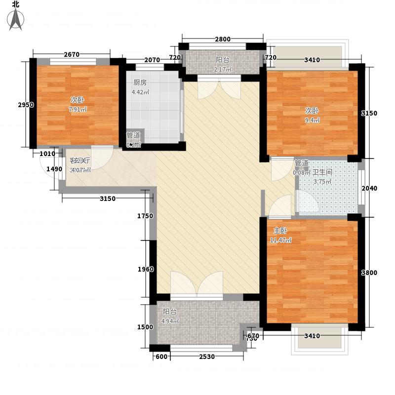 农房上海公馆17.88㎡6#楼C2户型3室2厅1卫1厨