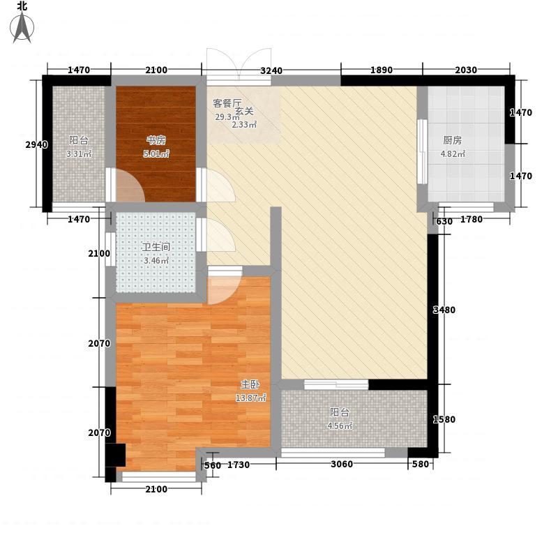 汇博苑8.00㎡2、3号楼B户型2室2厅1卫1厨