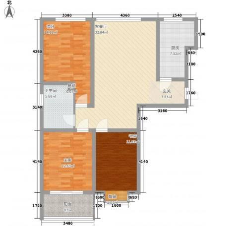 九州方圆国际3室1厅1卫1厨127.00㎡户型图