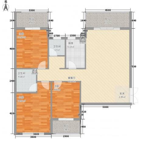 滨东花园3室1厅2卫1厨151.00㎡户型图