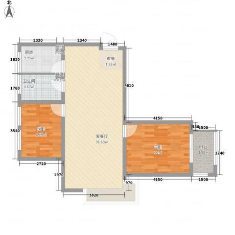 山海景湾2室1厅1卫1厨89.00㎡户型图