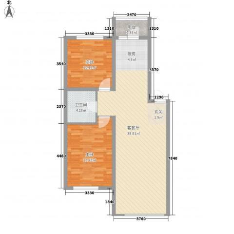滨才城2室1厅1卫0厨69.39㎡户型图