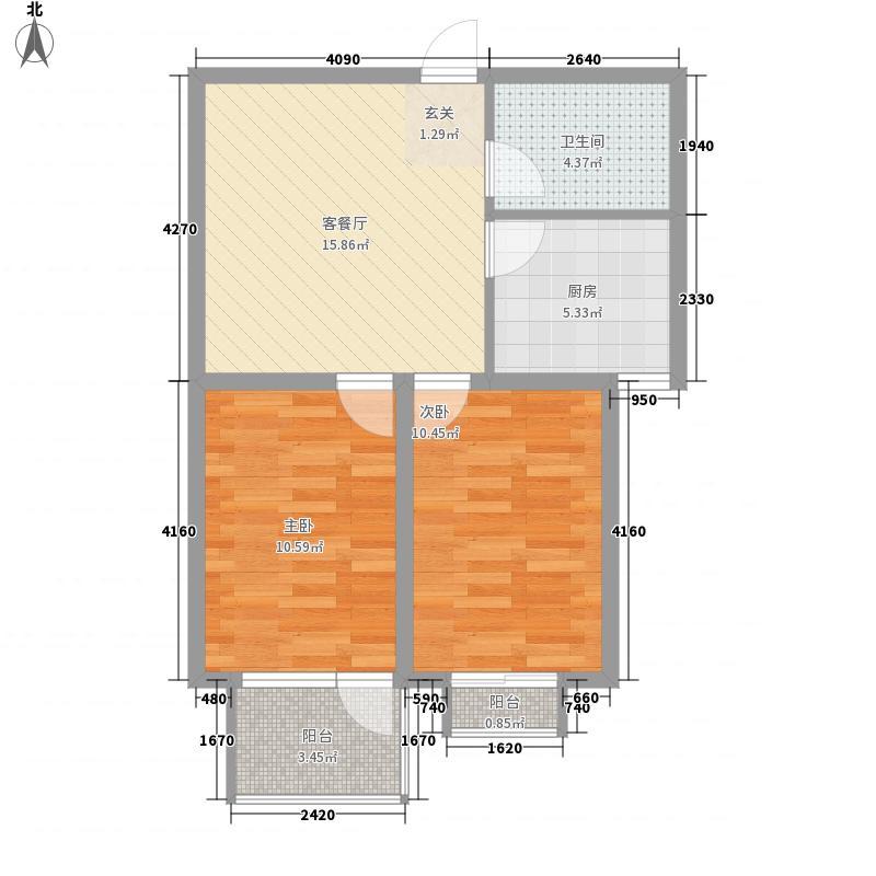 东方太阳城72.00㎡一期高层21号楼户型2室1厅1卫1厨