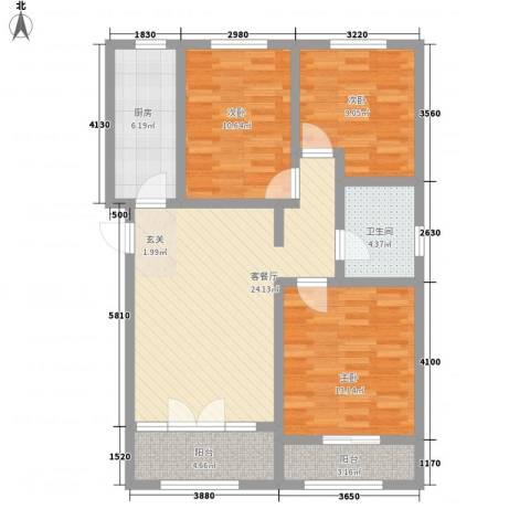 鼎晟国际3室1厅1卫1厨110.00㎡户型图